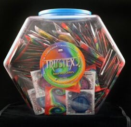 I Adore Love Trustex Assorted Colors Lubricated Condoms 288 Piece Fishbowl Sex Toys BDSM Lingerie Gift Card Massage