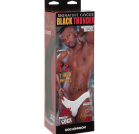 Black Thunder 12 Inch Curved Realistic Cock With Removable Vac-U-Lock Suction Cup