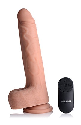Big Shot 9 Inch Silicone Thrusting Dildo With - Balls and Remote